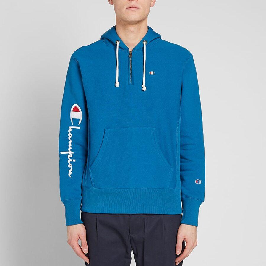 Champion Reverse Weave Half-Zip Hoodie in Blue