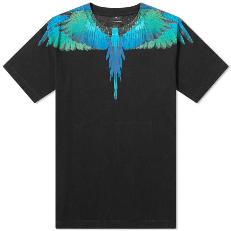 Marcelo Burlon Blue and Green Wings T-Shirt in Black