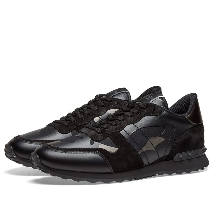 Valentino Metallic Rockrunner Sneakers in Black