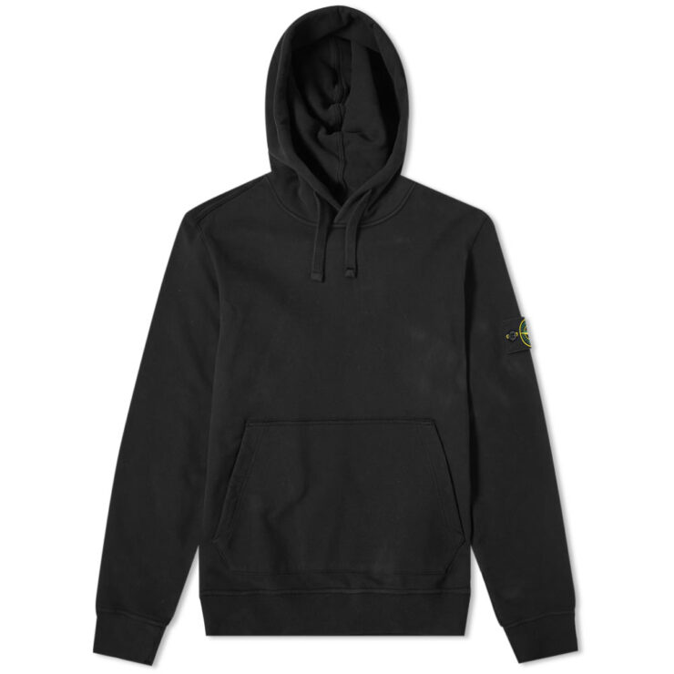 Stone Island Garment Dyed Hoodie in Black