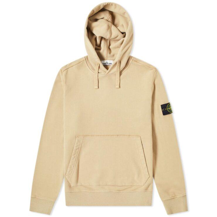 Stone Island Garment Dyed Hoodie in Ecru / Cream