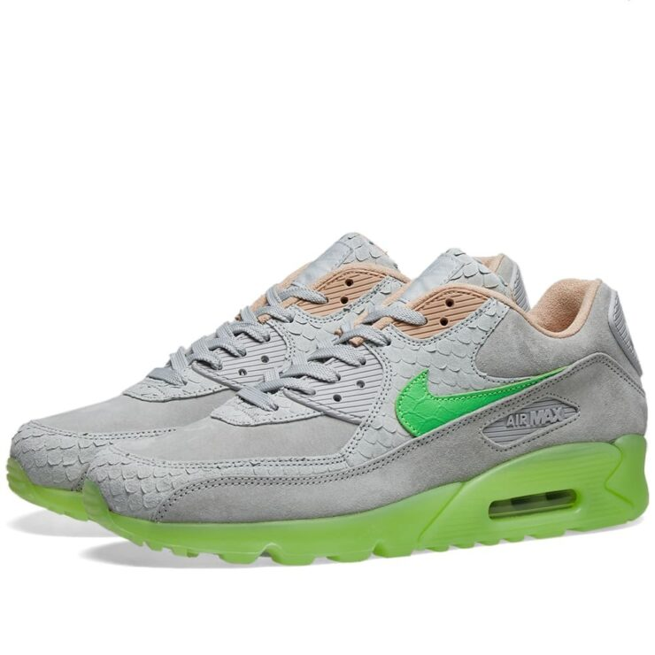 Nike Air Max 90 Premium 'New Species' in Pure Platinum and Electric Green