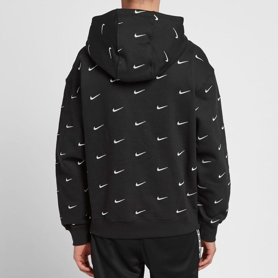 Nike NRG Embroidered Small Swoosh Logo Hoodie in Black