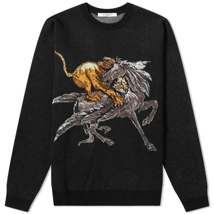 Givenchy Lion & Pegasus Fight Knitted Crewneck in Black and Grey