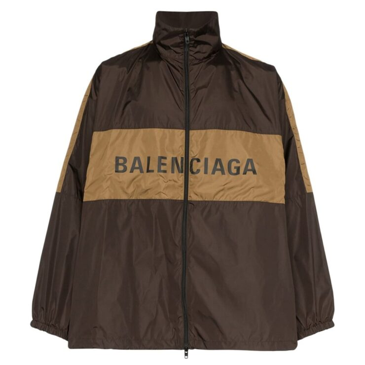 Balenciaga Logo Windbreaker Jacket in Dark Brown