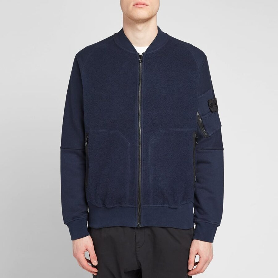 Stone Island Shadow Project Heavy Fleece-Panelled Bomber Jacket in Navy