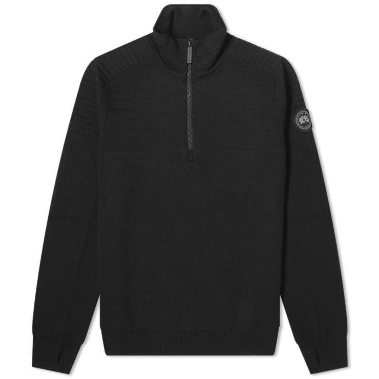 Canada Goose Clarke Quarter Zip Knitted Crewneck in Black