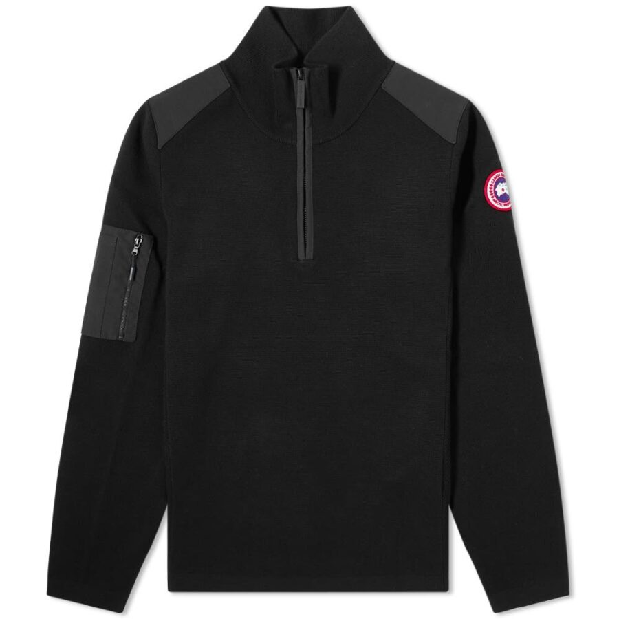 Canada Goose Stormont Quarter Zip Knitwear Crewneck in Black