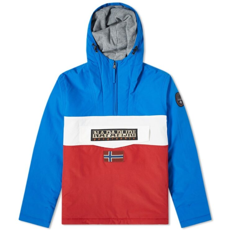 Napapijri Panelled Rainforest Winter Jacket in Blue, White and Red