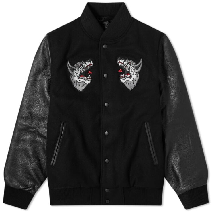 Raised by Wolves Souvenir Redux Varsity Jacket in Black