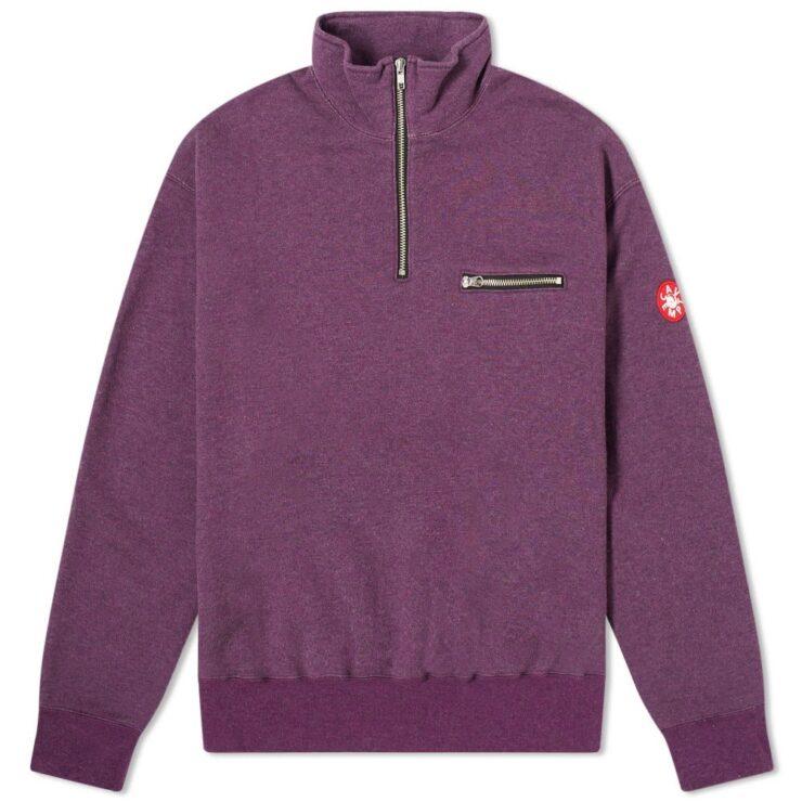 Cav Empt Half-Zip Sweater in Purple