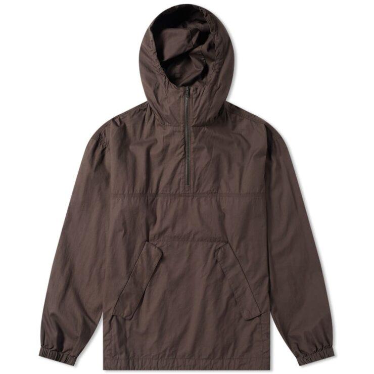 Wood Wood Laszlo Popover Anorak Windbreaker Jacket in Brown