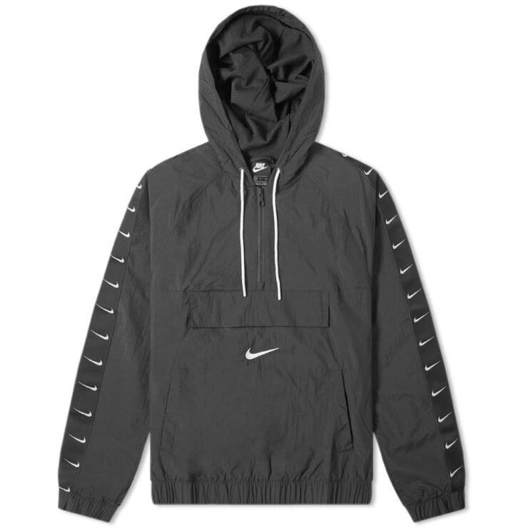 Nike Taped Swoosh Windbreaker Jacket in Black and White