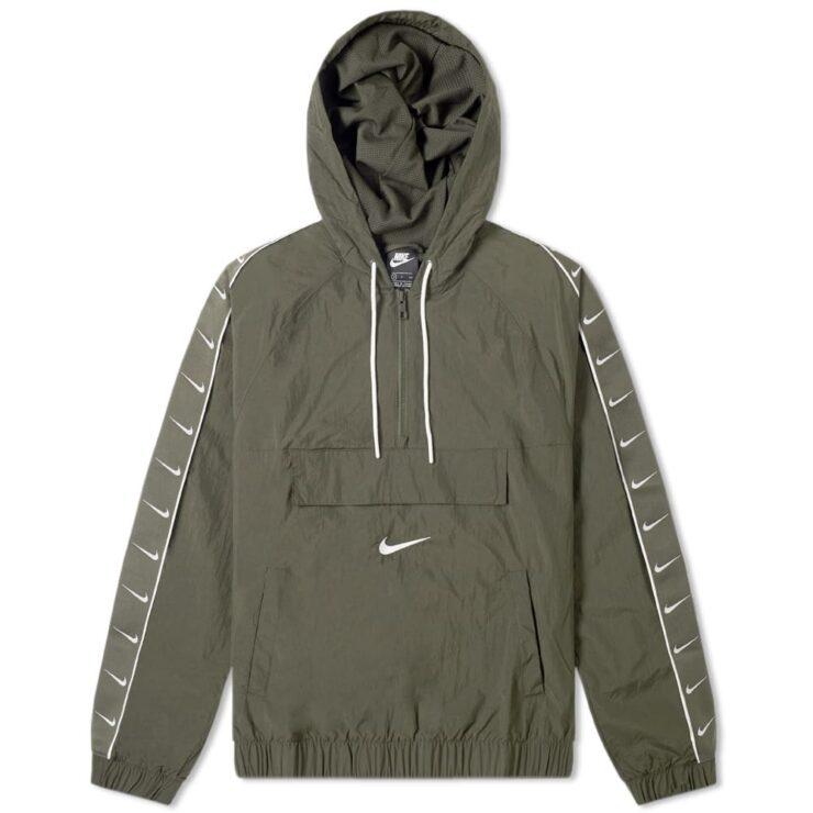 Nike Taped Swoosh Windbreaker Jacket in Olive Green