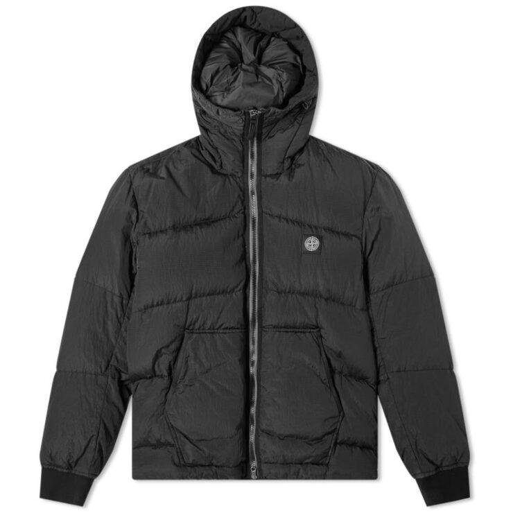 Stone Island Metal Nylon Watro Ripstop Jacket in Metallic Black