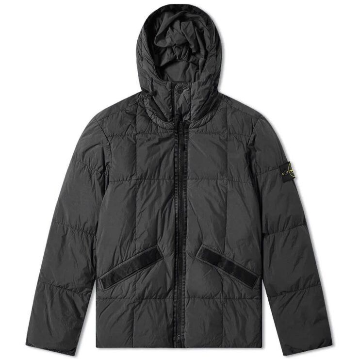 Stone Island Crinkle Reps Hooded Down Jacket in Black