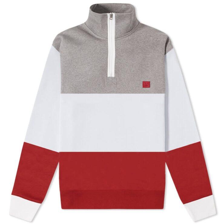 Acne Studios Half-Zip Flint Flag Sweatshirt in Light Grey Melange