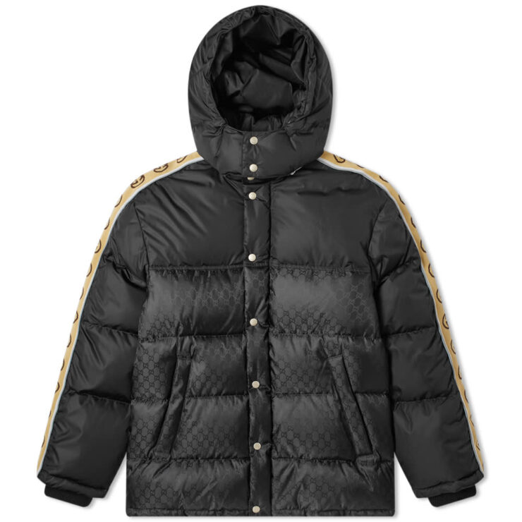 Gucci GG Jacquard Taped Sleeve Logo Down Jacket 'Black'