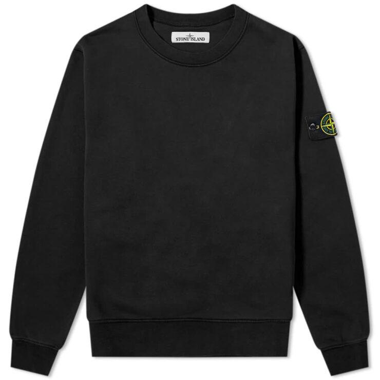 Stone Island Garment Dyed Crewneck Sweatshirt Black
