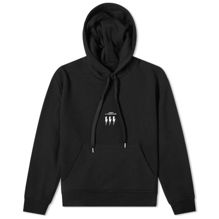 Neil Barrett Lightning Bolt Small Logo Hoody 'Black'