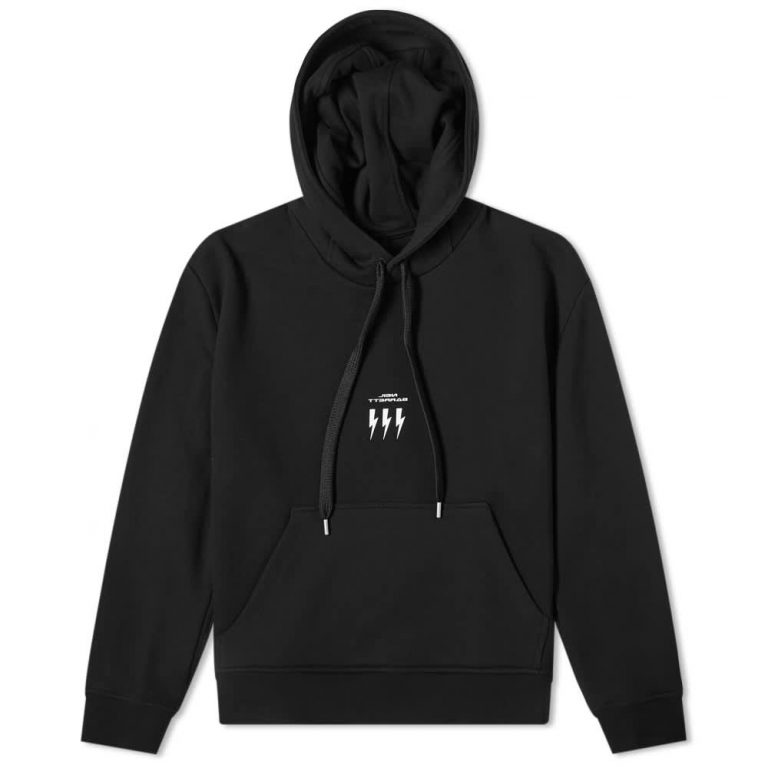 Neil Barrett Lightning Bolt Small Logo Hoodie 'Black'