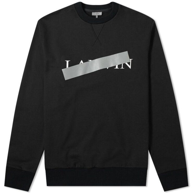 Lanvin Bar Logo Crewneck Sweatshirt in Black