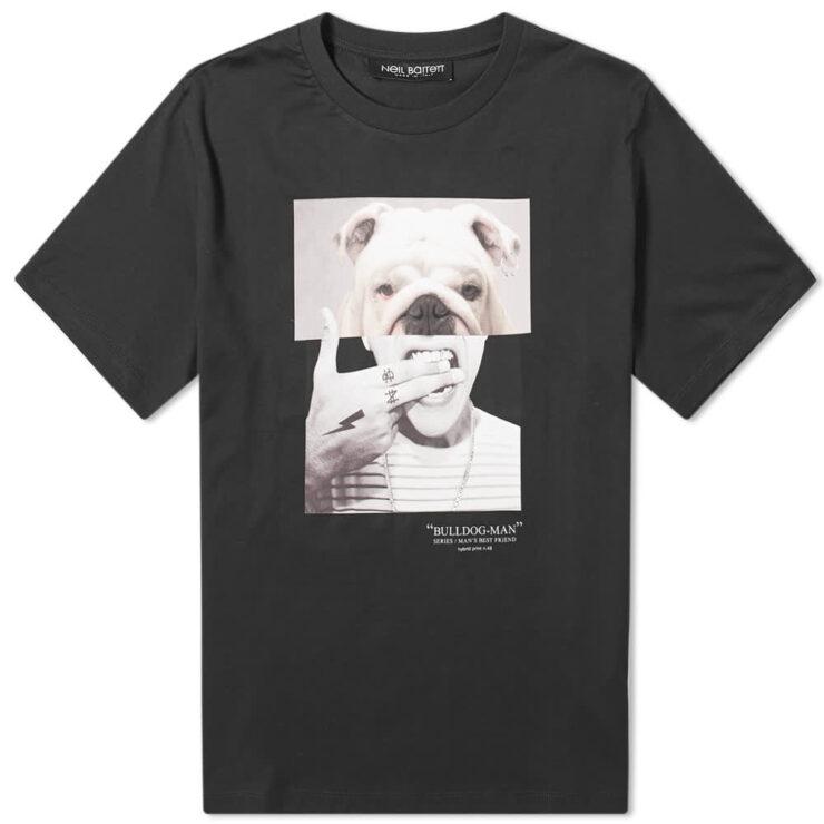 Neil Barrett Bulldog Man T-Shirt 'Black'