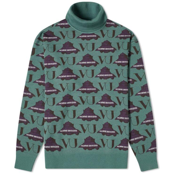 Undercover x Valentino Intarsia Roll Neck Knitwear 'Khaki'