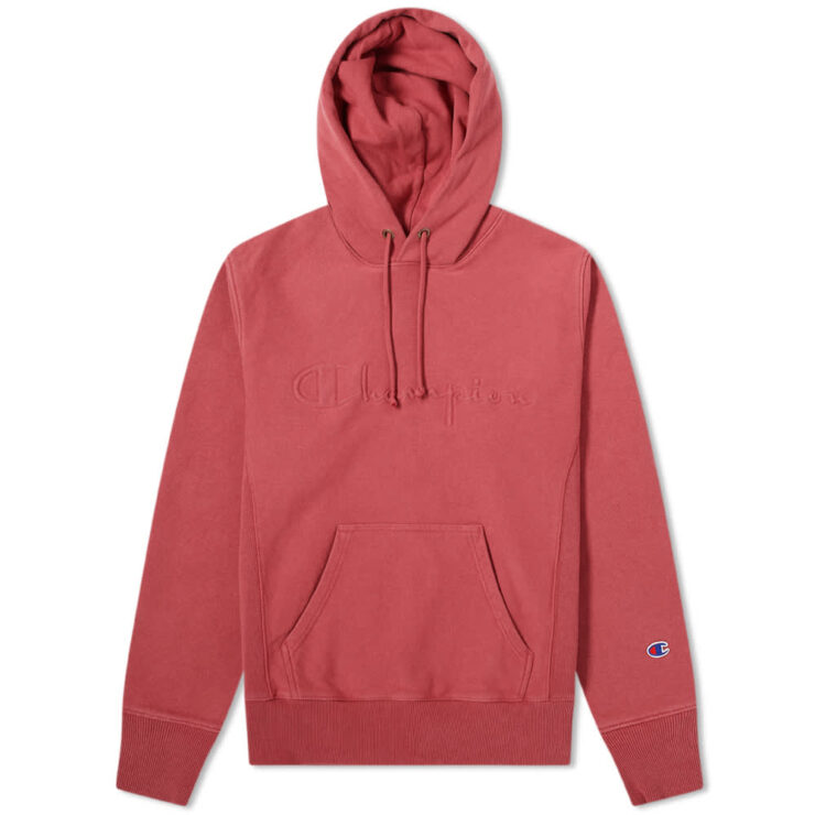 Champion Reverse Weave Logo Garment Dyed Hoodie 'Red'