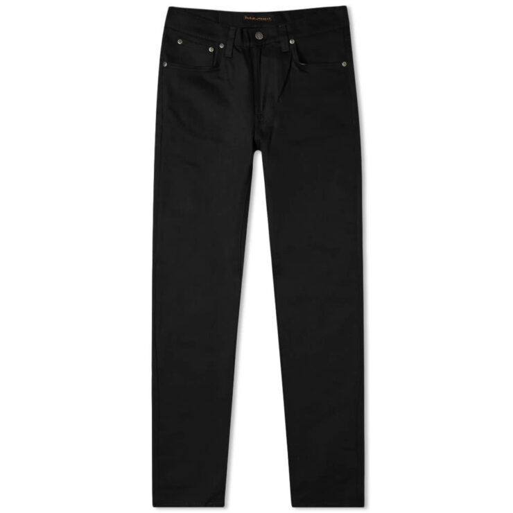 Nudie Lean Dean Tapered Jeans 'Dry Ever Black'