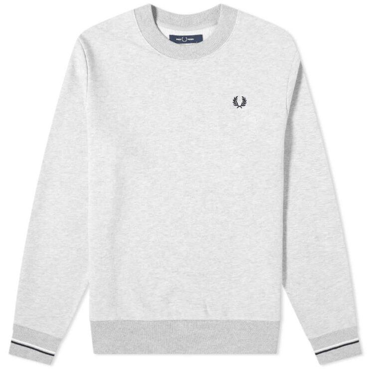 Fred Perry Tipped Cuffs Crewneck Sweatshirt 'Grey'