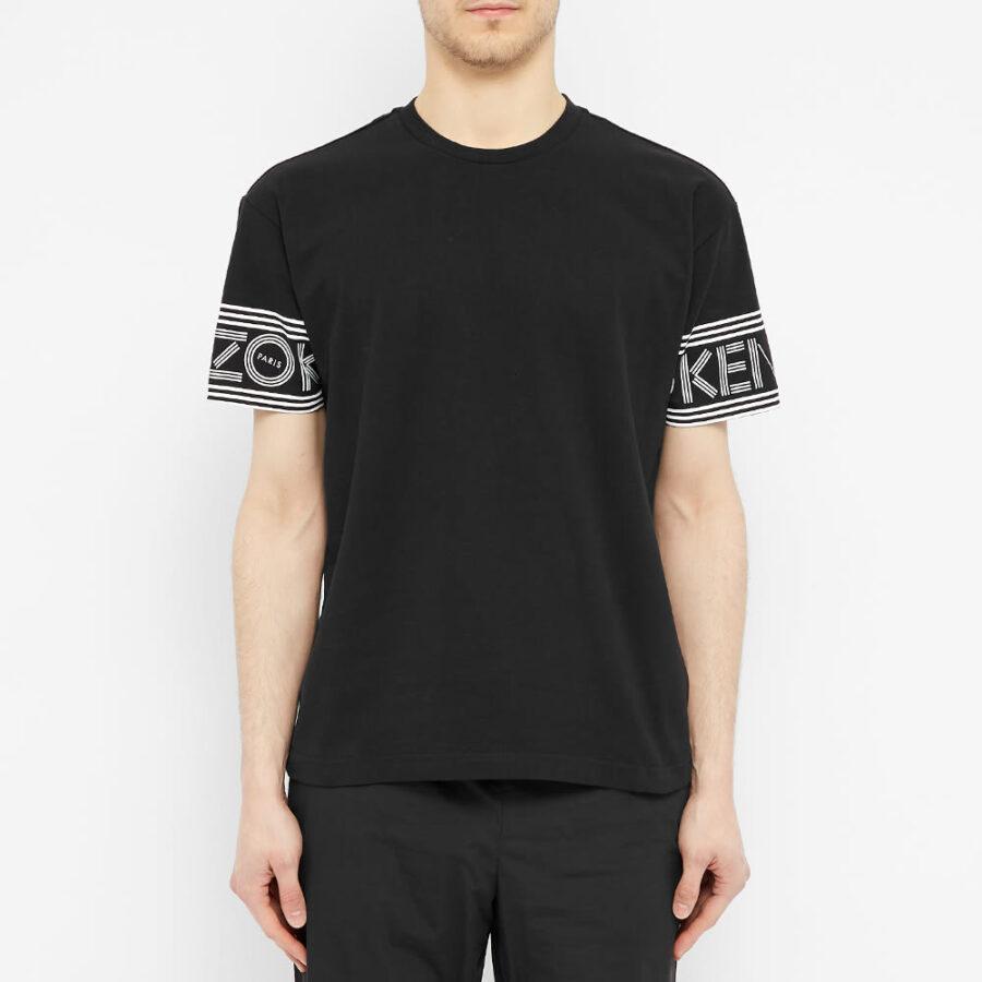 Kenzo Printed Cuff Logo T-Shirt 'Black'