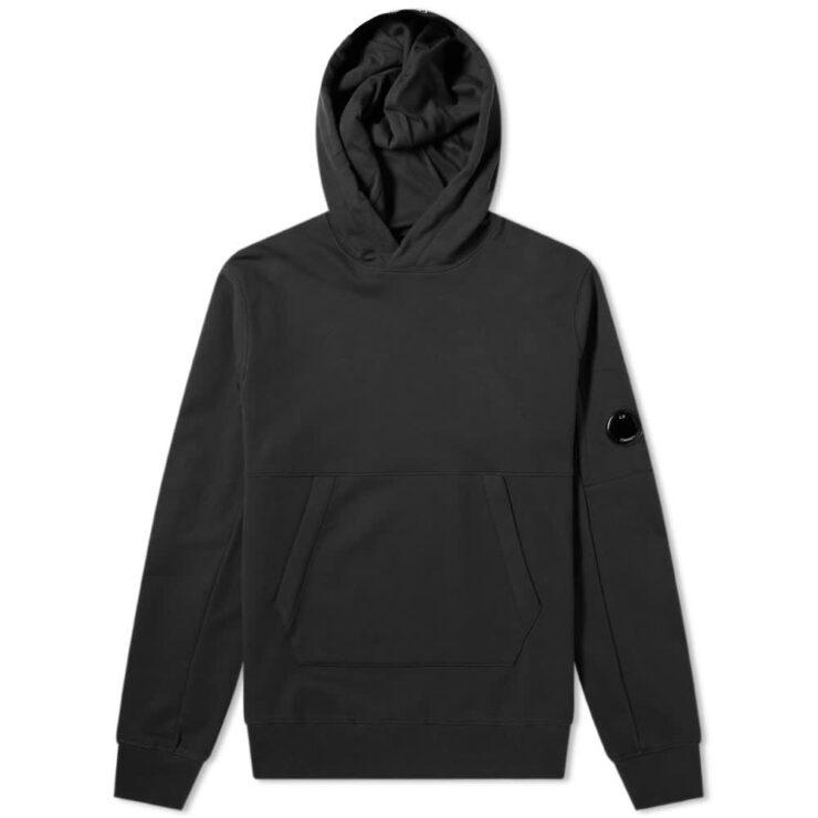 C.P. Company Diagonal Fleece Arm Lens Logo Hoodie 'Black'