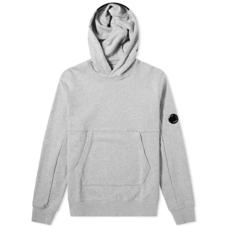 C.P. Company Diagonal Fleece Arm Lens Logo Hoodie 'Grey'