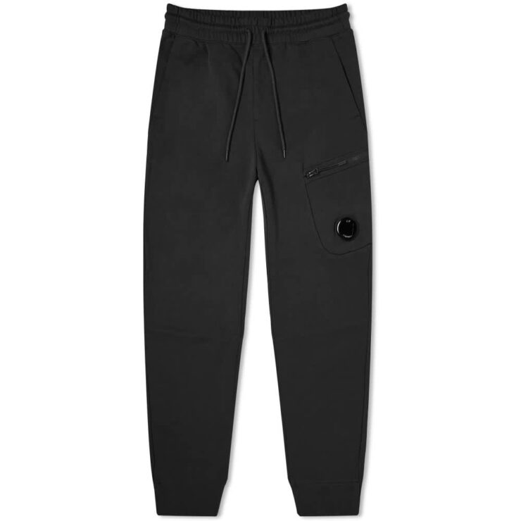 C.P. Company Diagonal Fleece Pocket Lens Zip Sweatpants 'Black'