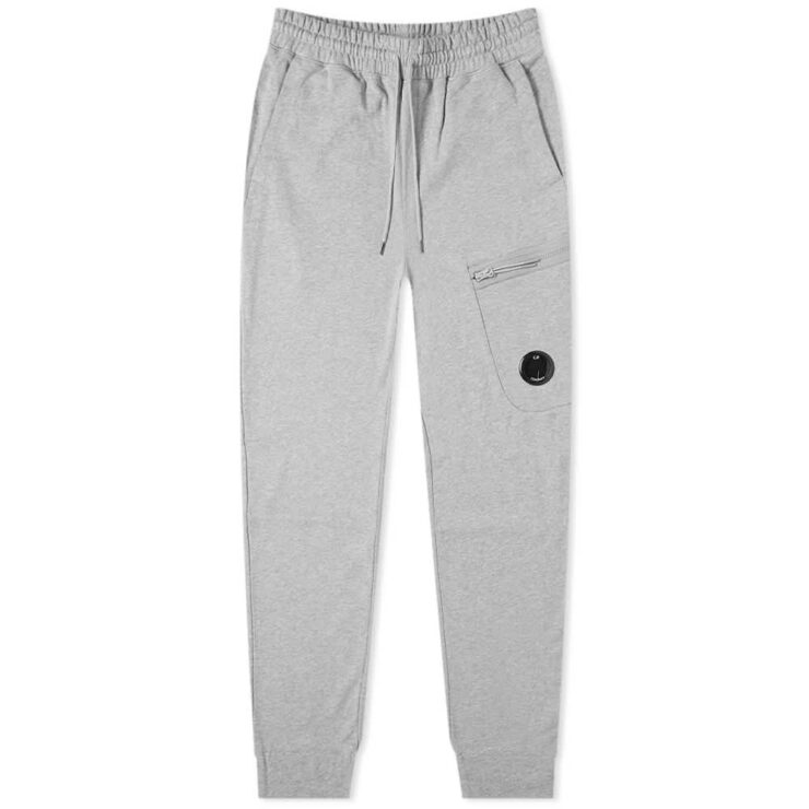 C.P. Company Diagonal Fleece Pocket Lens Zip Sweatpants 'Grey'