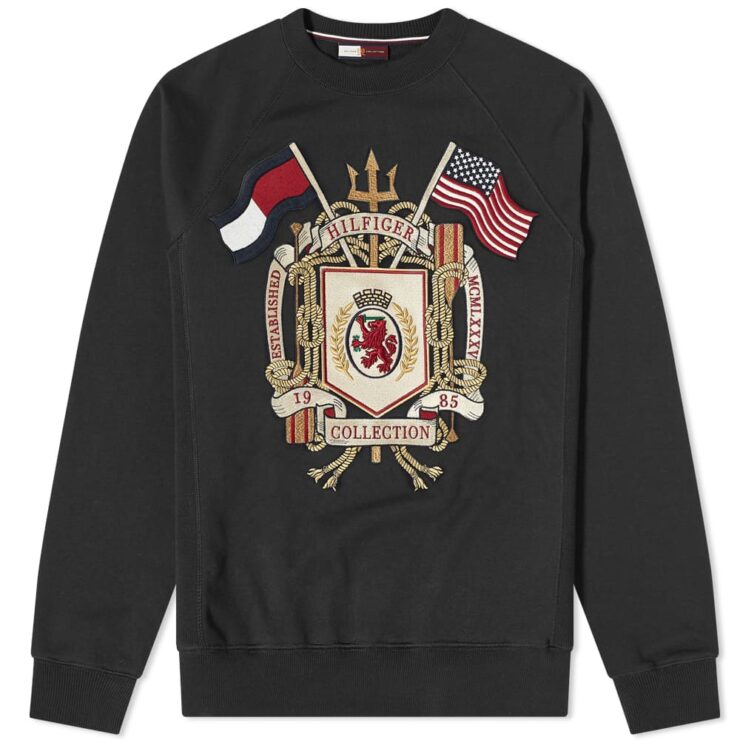 Tommy Jeans Embroidered Crest Crewneck Sweatshirt 'Jet Black'