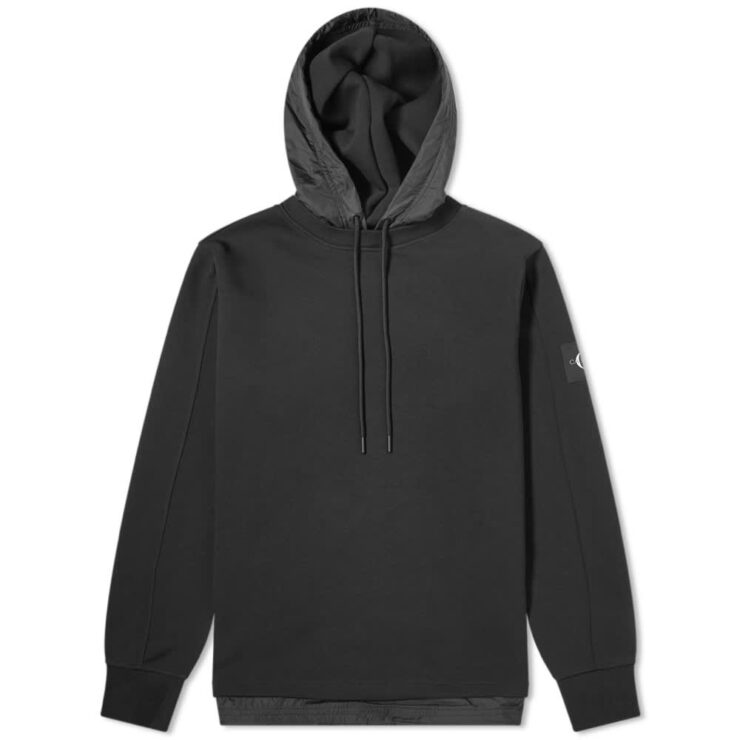 Calvin Klein Nylon Hooded Sweatshirt 'Black'
