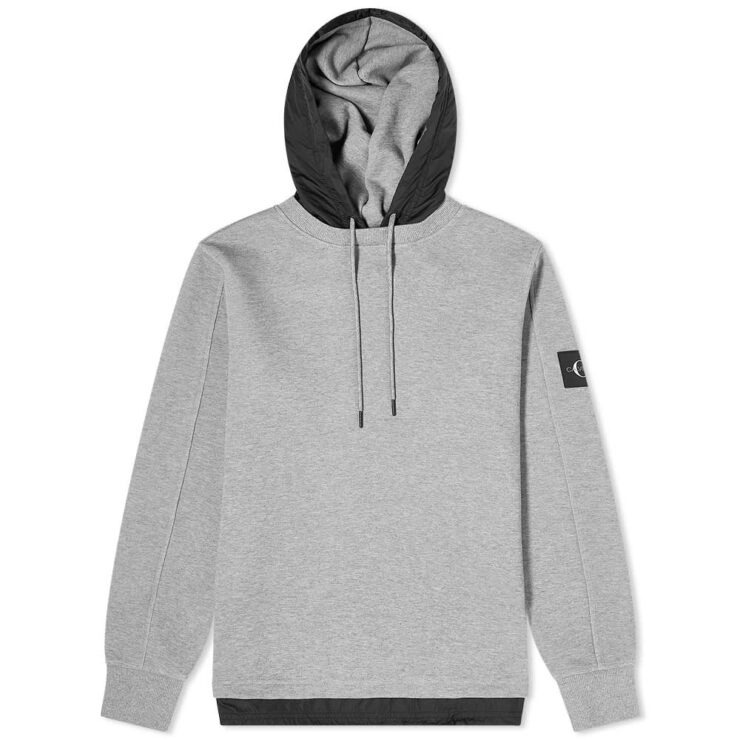 Calvin Klein Nylon Hooded Sweatshirt 'Grey & Black'