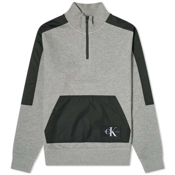 Calvin Klein Nylon Mix Half-Zip Sweatshirt 'Grey & Black'