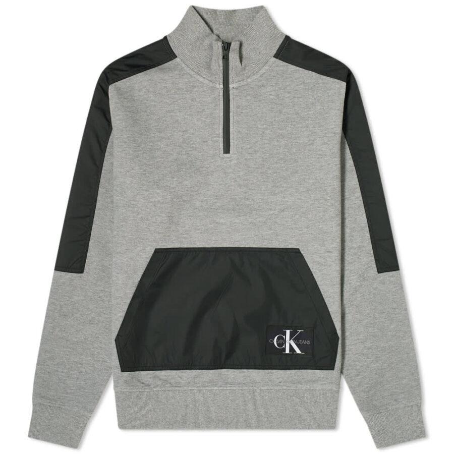 Calvin Klein Nylon Mix Half-Zip Sweatshirt 'Grey & Black'
