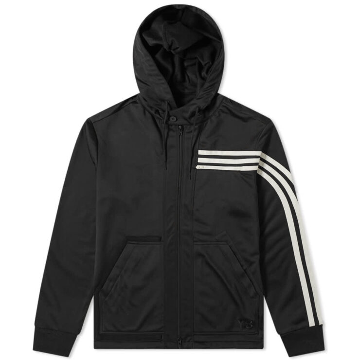 Y-3 3 Stripe Hooded Track Jacket 'Black & Ecru'