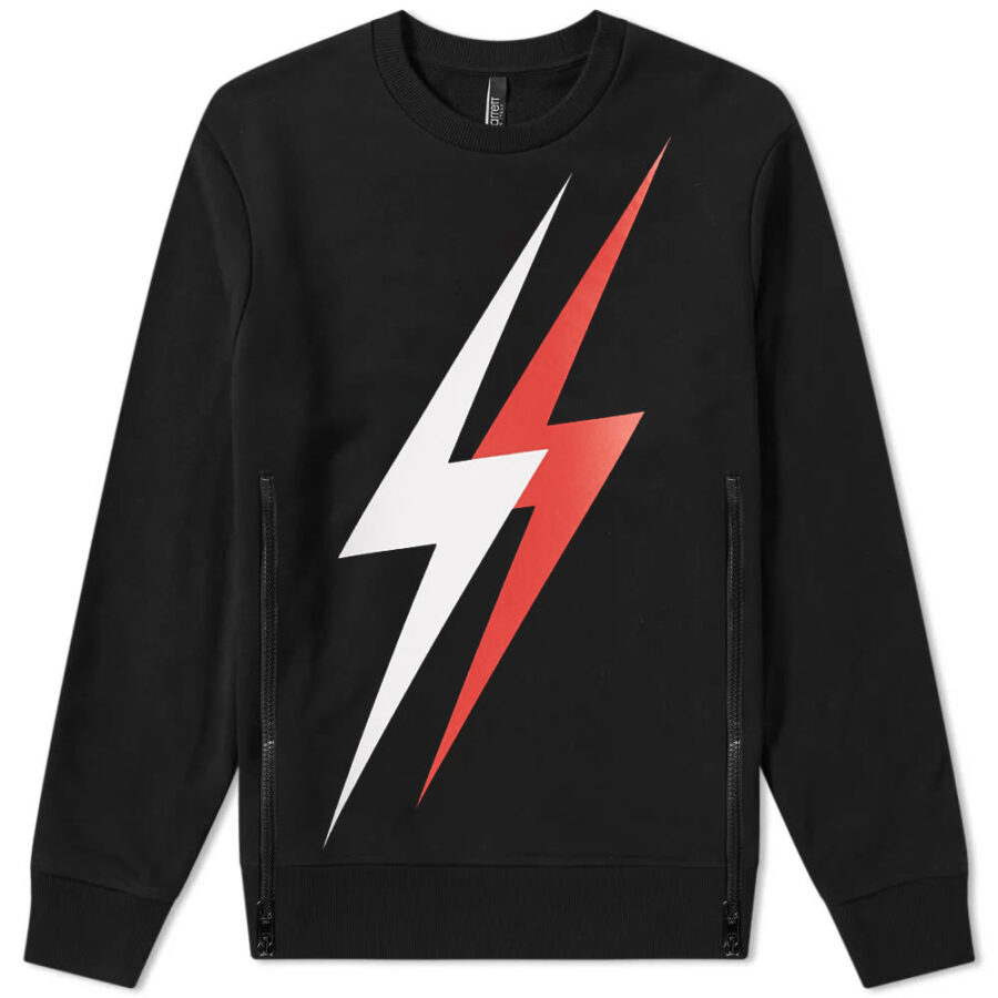 Neil Barrett Large 3 Lightning Bolt Sweatshirt 'Black & Red'