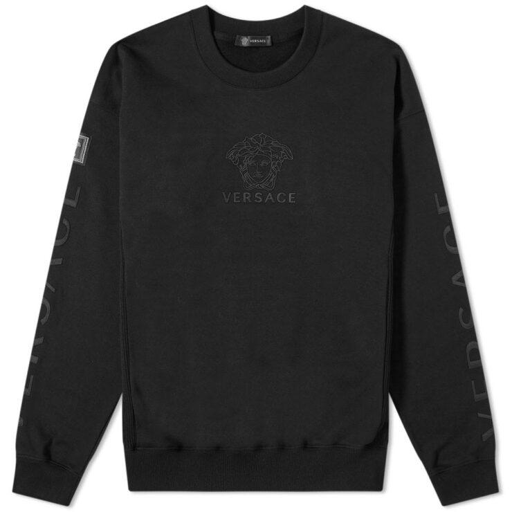 Versace Multi Logo Embroidered Crewneck Sweatshirt 'Black'