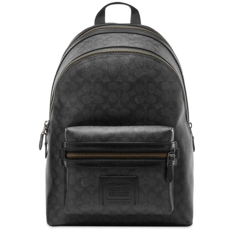 Coach Signature Academy Leather Backpack 'Charcoal'