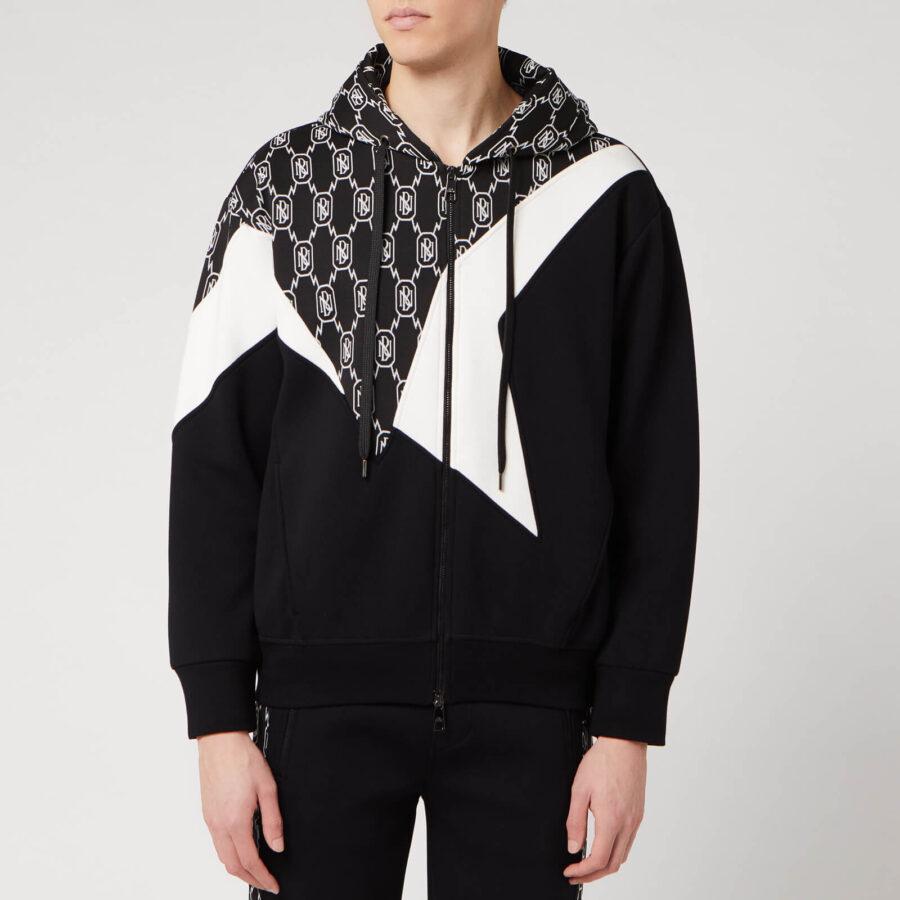 Neil Barrett Monogram Bauhaus Modernist Zip-Up Hoodie 'Black'
