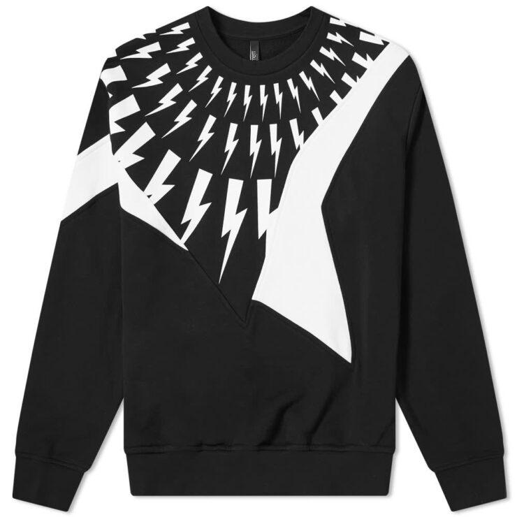 Neil Barrett Panel Lightning Bolt Crewneck Sweatshirt 'Black'