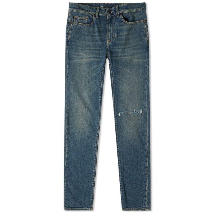 Saint Laurent Skinny Low Waist Jeans 'Deep Blue Vintage'