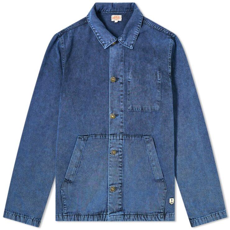 Armor-Lux Fisherman Chore Overshirt Jacket 'Washed Blue'