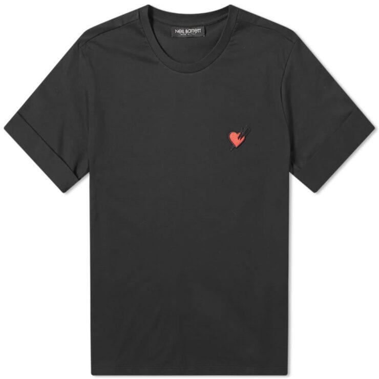 Neil Barrett Punk'ed Heart Badge Rolled Up T-Shirt 'Black'